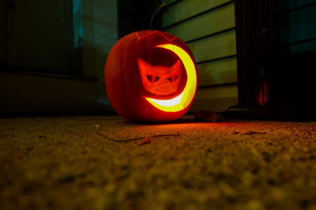 carved pumpkin with cat and moon shaped lighted up