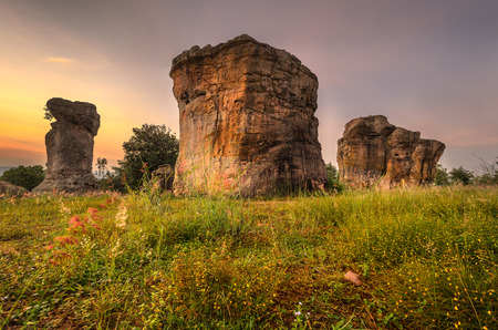 consist: The Nature-Built \\\Mor Hin Khao\\\ or Stonehenge of Thailand. Consist of gigantic rock columns, white sand stone, siltstone, mud stone and purple sandstone. These rocks are assumed to be over a hundred million years old, Chaiyaphum, Thailand Stock Photo