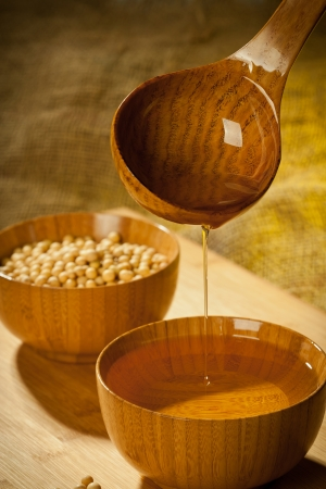 natural process: Soybeans and soybean oil, all with pure natural process manufacturing in China  Stock Photo