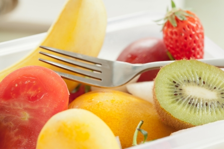 Complementary fruit nutrition is important, at lunch, for students Stock Photo - 17075643