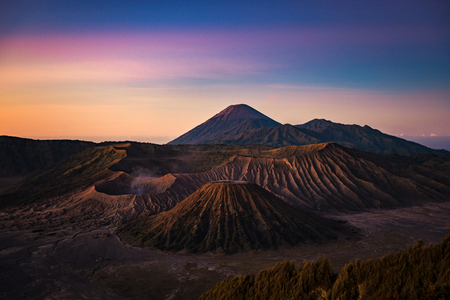 Bromo, Semeru, and Batok volcano mountain in a morning, East Java, Indonesia, Asia Stock Photo