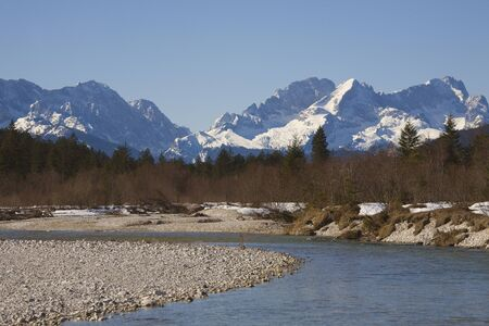 river Isar and Zugspitze Stock Photo - 9016145