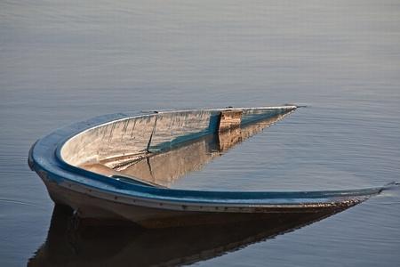 sunken boat: sunken boat in lake bolsena