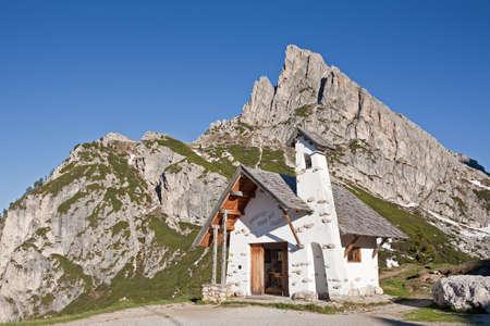 the small chapel on the summit of the falzaregopass  Stock Photo