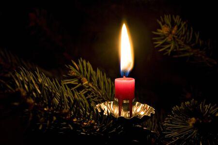 flamme: Kerze am Weihachtsbaum