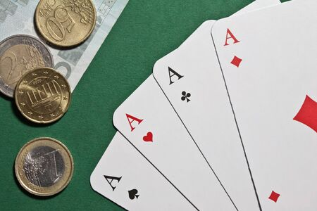 card player: Four Aces - a dream sheet for each card player Stock Photo