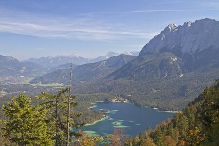 zugspitze mountain: View from the Th�rle to  the Eibsee Stock Photo