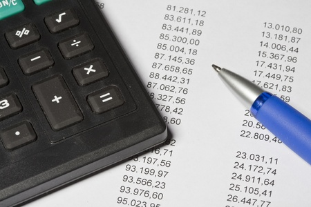 exists: Calculator with assets costing Stock Photo