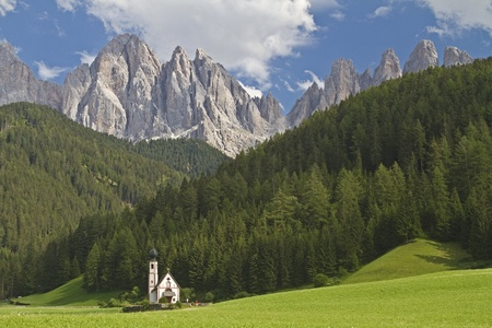 St. Johann in Ranui -  popular photo in Valle di Funes Stock Photo