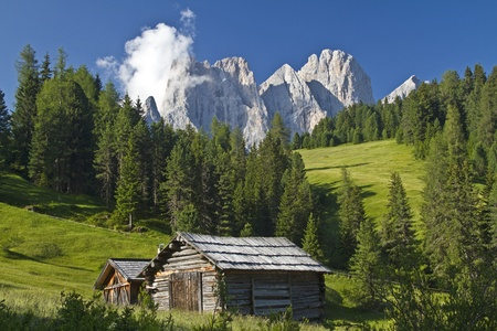 Idyllic hay hut in the Dolomites