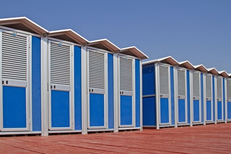 cabins on the beach of rapallo in liguria photo