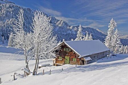 log cabin winter: Wasensteiner Alm - idyllic mountain lodge in winter