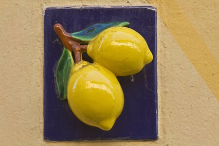 limonene: Limone signs with their house numbers are a symbol of the small town of Limone at Lake Garda Stock Photo