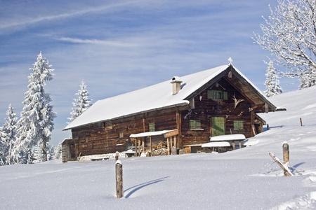 log cabin winter: wasen steiner alm - idyllic mountain lodge in winter