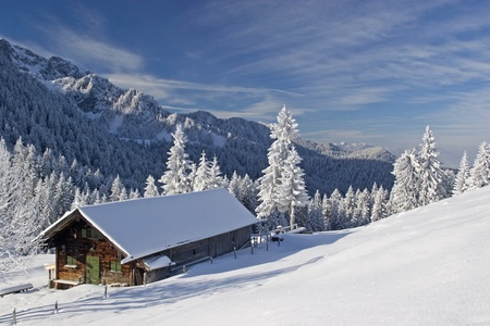 log cabin in snow: Wasensteiner Alm - idyllic mountain lodge in winter