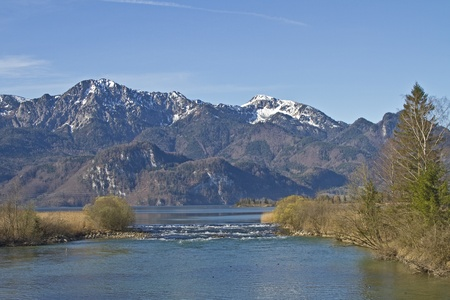 effluent: Loisach  - the effluent from the Kochelsee Stock Photo