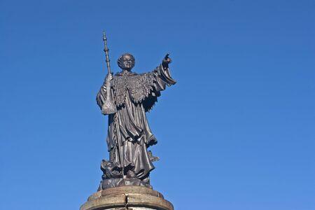 The statue of St. Bernard at the pass of St. Bernard Pass  photo