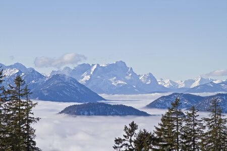 inversion: inversion location - overlooking the sea to the clouds of Wetterstein mountains with Zugspitze