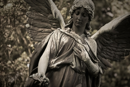 mourn: Angel statue in an old cemetery