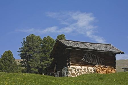 gardena: Hay hut in Val Gardena Stock Photo