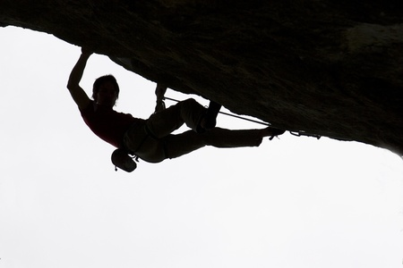 Extreme climbing into the top levels of difficulty Stock Photo