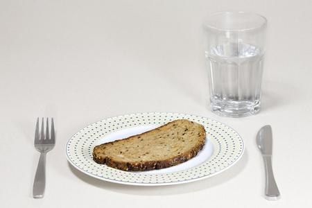 Bread and water Standard-Bild