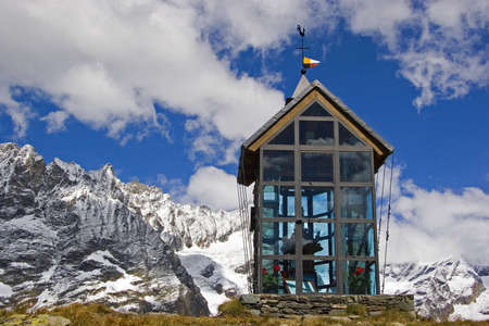 Chapel in the contemporary architectural style of a mountain at 2500 m above sea level in the Valais photo