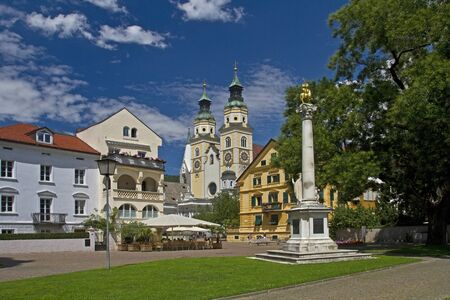 View of the Cathedral of the South Tyrolean town of Brixen Stock Photo