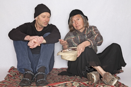 hartz 4: older homeless couple is asking for support Stock Photo