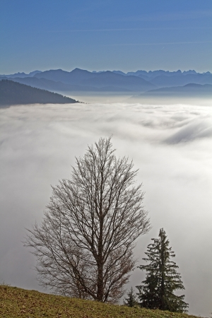 Inversion situation in the fall - fog banks in the valley, Sunshine on the peaks