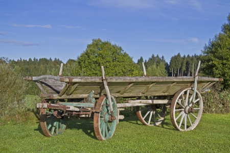 old wood farm wagon: Hay wagon standing on green meadow