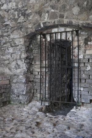 Barred door in old walls