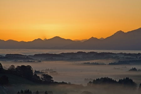 fog banks in the bavarian foothills Stock Photo - 16297430