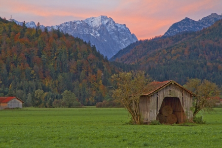 zugspitze mountain: Barn and Zugspitze in the morning light