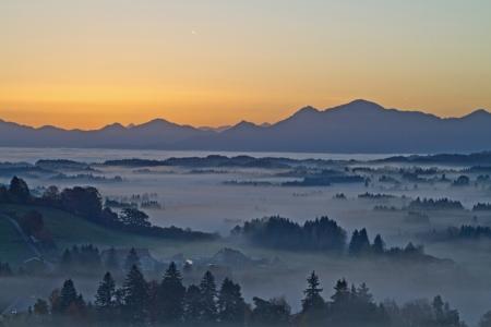 fog banks in the bavarian foothills Stock Photo - 16297604