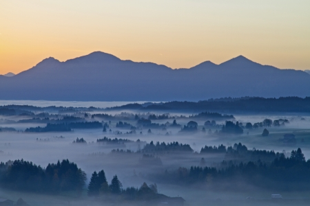 morning fog in Upper Bavaria Stock Photo - 16582965