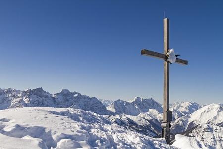 pus: Schafreiter summit with cross Stock Photo