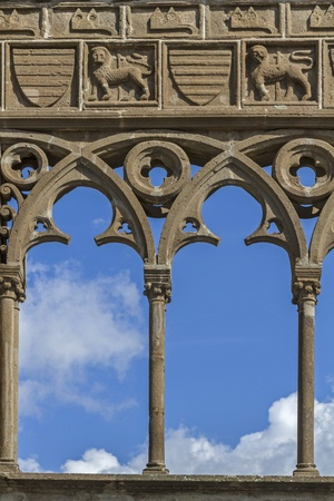 viterbo: The Gothic loggia of the Papal Palace in Viterbo Stock Photo