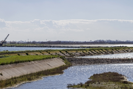 water's: Land reclamation in Po delta Stock Photo