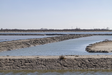 dikes: Land reclamation in Po delta Stock Photo