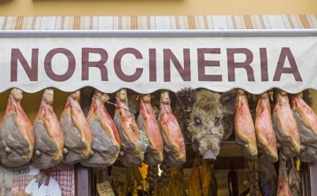 Norcineria in Norcia  Stock Photo