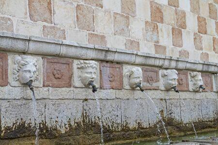 aquila: Fontana delle 99 Cannelle in l Aquila Stock Photo