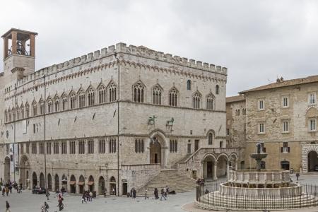 priori: Fontana Maggiore and Palazzo Comunale in Perugia Stock Photo