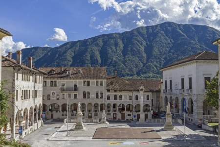 The town square of the small historic town of Feltre in Veneto