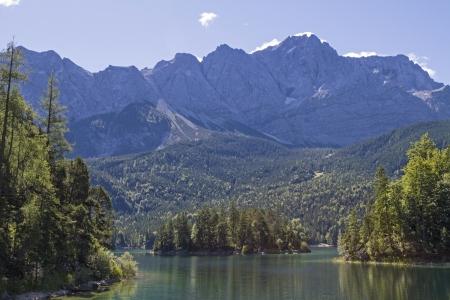 zugspitze mountain: Eibsee lake and mountain Zugspitze