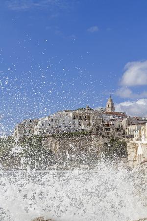 foggia: water splash in Vieste a town in Gargano