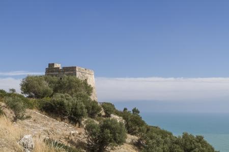 foggia: Old watch tower at Gargano coast Stock Photo