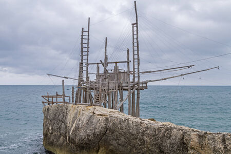 foggia: Trabucco near the wild Gargano coast Stock Photo