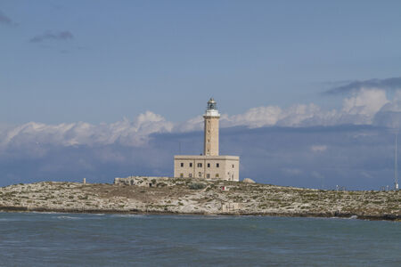 foggia: The Lighthouse of Vieste is one of the most important signal  tower of  Italy Stock Photo