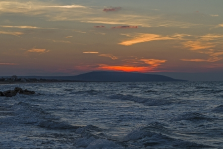 foggia: Sunset at coast of Gargano Stock Photo